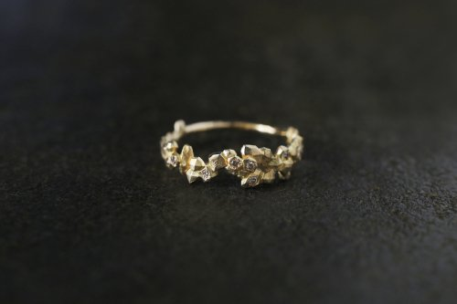 Whisper ring + light brown diamonds