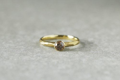 Rough cut ring + 0.3ct diamond ( cognac brown ) / K18