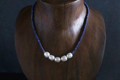 Lapis lazuli & pearl necklace 42cm