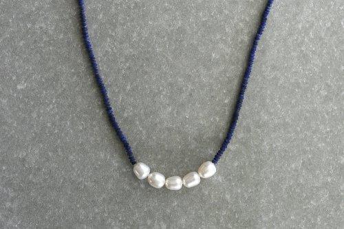 Lapis lazuli & pearl necklace 85cm