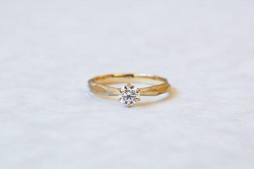 Rough cut ring + 0.3ct diamond / K18