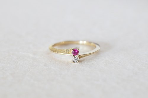 Double stones ring / ruby