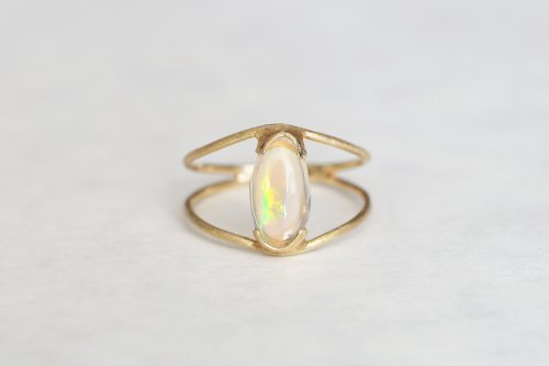 Water opal ring / double arms