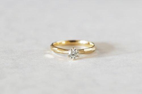 Rough cut ring + 0.2ct diamond / K18