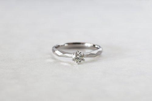 Rough cut ring + 0.2ct diamond / Pt900