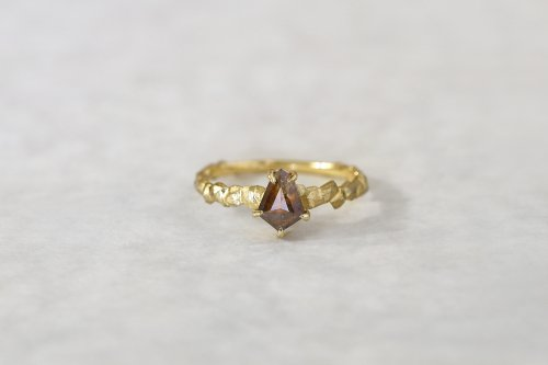 Whisper ring + Bell cut brown diamond