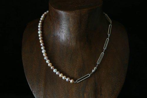 Original chain & pearl necklace / multi color