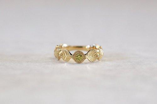 Leaf milgrain ring + diamond ( olive + treated ) / K18YG