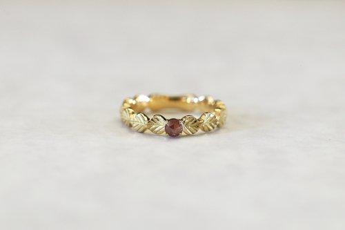Leaf little ring + rose cut diamond(red brown) / K18