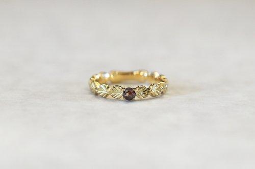 Leaf little ring + rose cut diamond(dark red brown) / K18