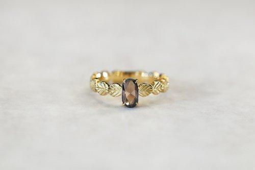 Leaf little ring + oval cut diamond(brown) / K18