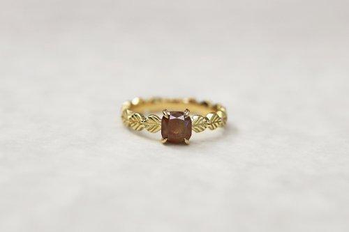 Leaf little ring + cusion cut diamond(red brown) / K18