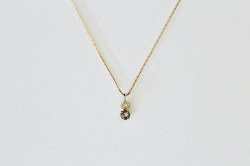 Leaf necklace + brown rosecut diamond