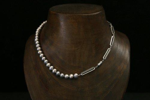 Original chain & pearl necklace / gray potato