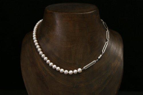Original chain & pearl necklace / white