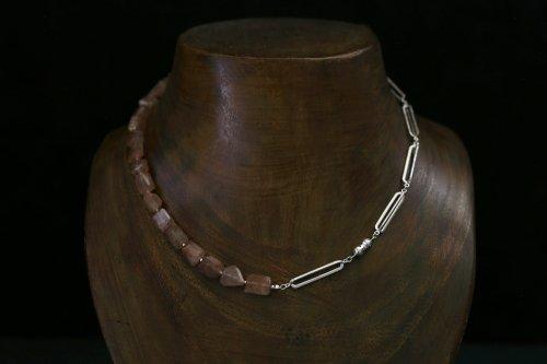 Original chain & stone necklace / sunstone