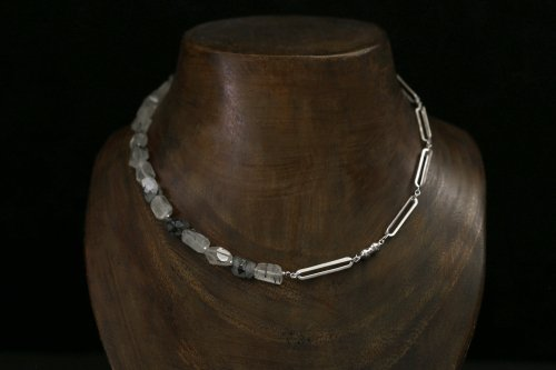 Original chain & stone necklace / black rutile quartz