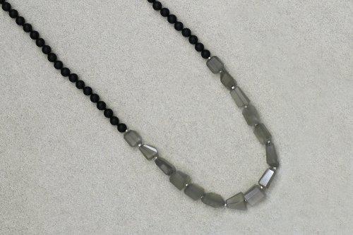 Onyx & gray moonstone necklace