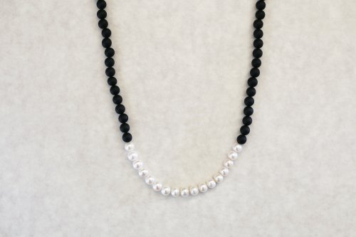 Onyx & pearl combination necklace