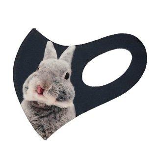 大きめサイズ・うさぎのふうた立体マスク(黒)