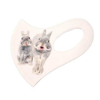 レギュラーサイズ・うさぎのふうた立体マスク(白)