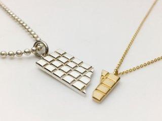 Cut Chocolate Bar Pendant 大(SV) 小(K10)セット チェーン付き