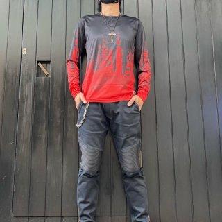 【2021NEW】ハイノイ ドリッピングシルキータッチシャツ レッド/ブラック【数量限定】