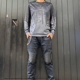 【2021NEW】HI-NOI ドリッピングシルキータッチシャツ グレー/ブラック【数量限定】