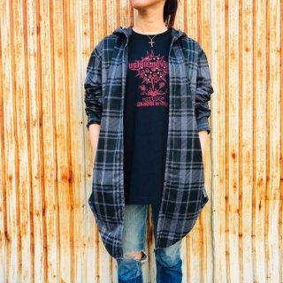 【2021NEW】HI-NOI タータンフードシャツ グレー【数量限定】