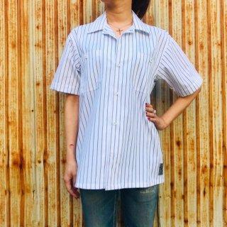 【2021NEW】HI-NOI ストライプワークシャツ ホワイト バックプリント
