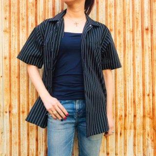 【2021NEW】HI-NOI ストライプワークシャツ ブラック バックプリント