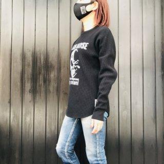 【2021NEW】HI-NOI ワッフルロングスリーブシャツ ブラック