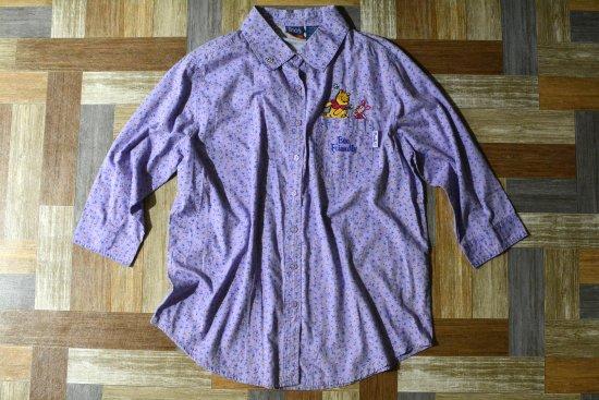 90's Vintage Disney プーさん 刺繍 小花柄 七分袖 シャツ DEAD STOCK (レディース古着)