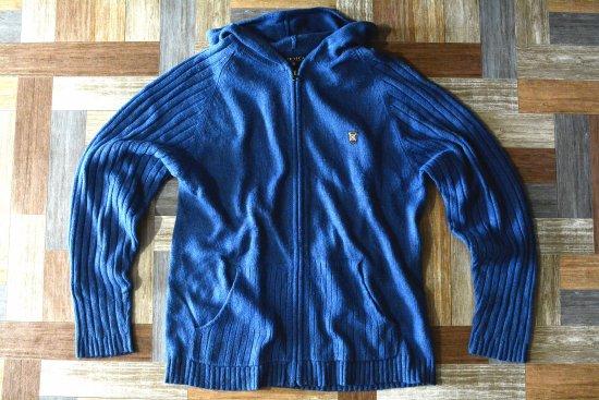 90's Vintage NAUTICA ジップアップ ニット パーカー ブルー (メンズ古着)
