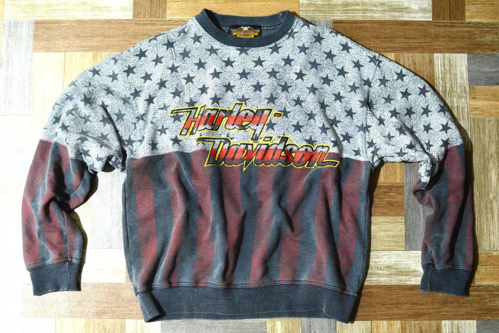 90's Vintage HARLEY DAVIDSON 星条旗 ロゴ スウェット (メンズ古着)