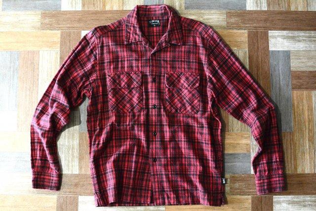 STUSSY 開襟 チェック ネルシャツ (メンズ古着)