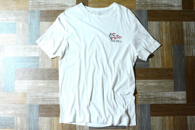 NAUTICA ワンポイント ロゴ Tシャツ ホワイト (メンズ古着)