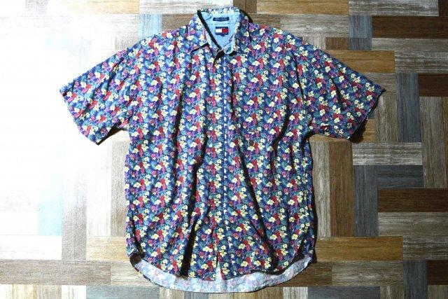 90's Vintage TOMMY HILFIGER 花柄 半袖 BD シャツ ネイビー (メンズ古着)