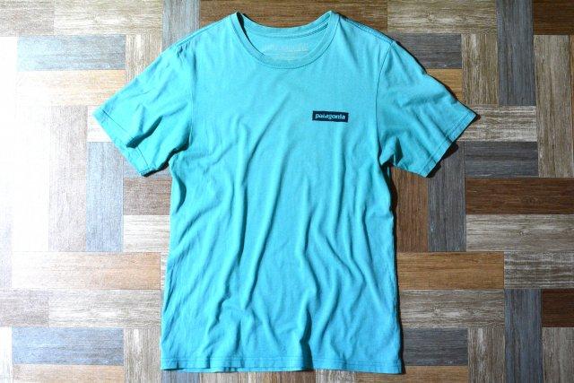 patagonia USA製 波 Tシャツ ターコイズブルー (メンズ古着)