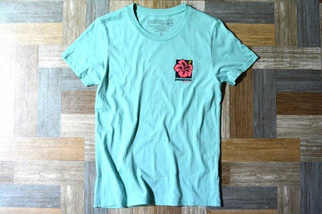 patagonia USA製 ハイビスカス Tシャツ ティファニーブルー (レディース古着)