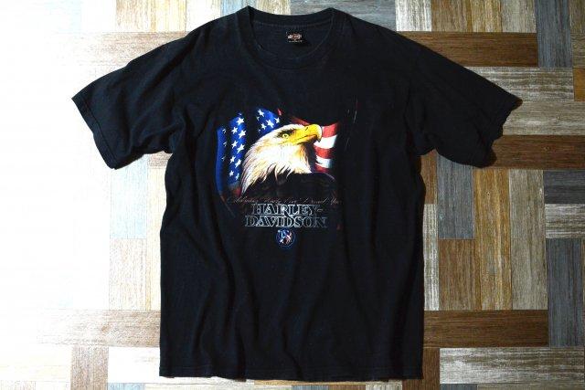 90's Vintage HARLEY DAVIDSON USA製 イーグル&ベアー Tシャツ ブラック (メンズ古着)