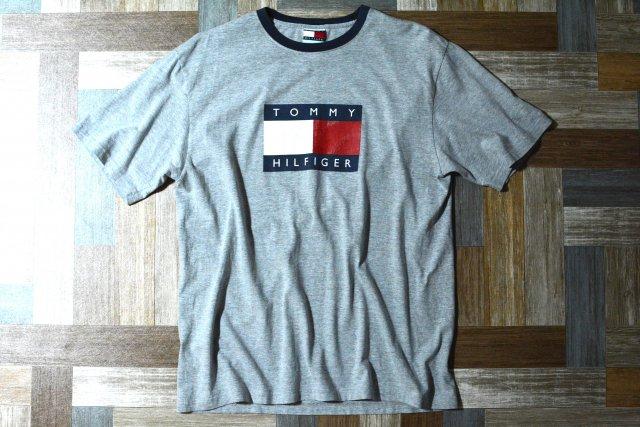 90's Vintage TOMMY HILFIGER ロゴ リンガー Tシャツ グレー×ネイビー (メンズ古着)
