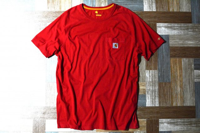 carhartt ラグラン ポケット Tシャツ レッド (メンズ古着)