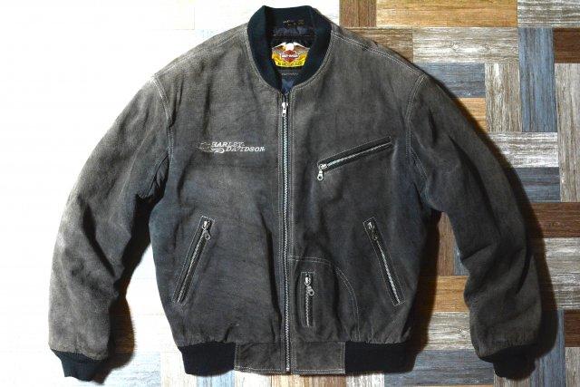 90's Vintage HARLEY DAVIDSON スエード レザー 中綿 ボンバージャケット グレー (メンズ古着)
