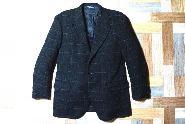 90's Vintage POLO RALPH LAUREN ウール ウインドーペーン チェック 3B テーラード ジャケット チャコールグレー (メンズ古着)