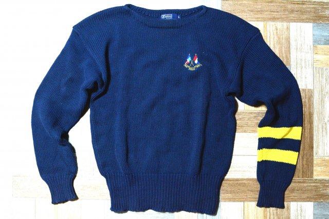 90's Vintage POLO RALPH LAUREN コットン エンブレム ライン ニット セーター ネイビー (メンズ古着)