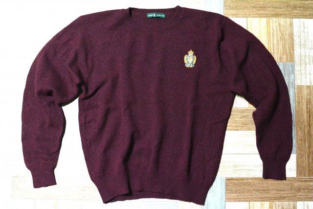 80's Vintage POLO RALPH LAUREN ウール エンブレム ニット セーター バーガンディー (メンズ古着)