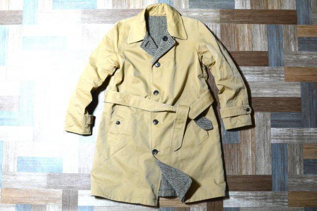 RALPH LAUREN コットン × ウール ツイード リバーシブル ステンカラー コート (レディース古着)