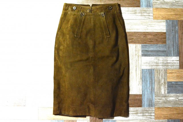 RALPH LAUREN スエード レザー シンチバック付き スカート ブラウン (レディース古着)