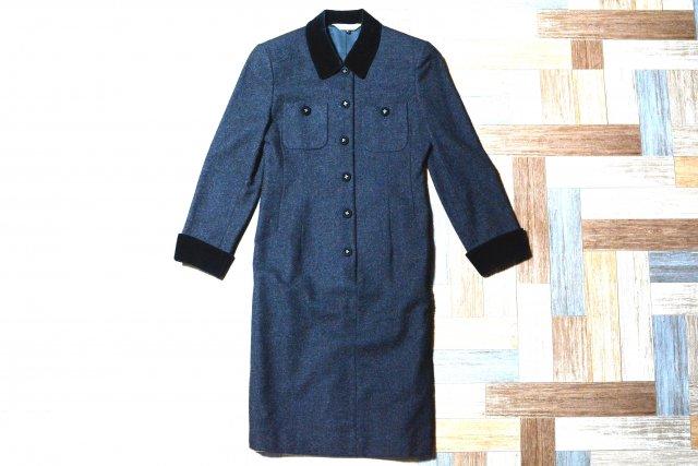 Vintage Burberrys ウール ベロア襟 ワンピース チャコールグレー×ブラック (レディース古着)